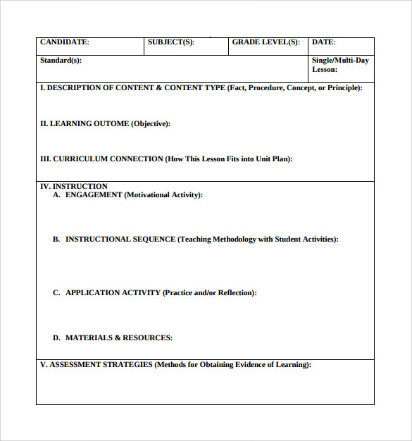 Teacher Lesson Plan Templates Free Sample Example Format - Single subject lesson plan template