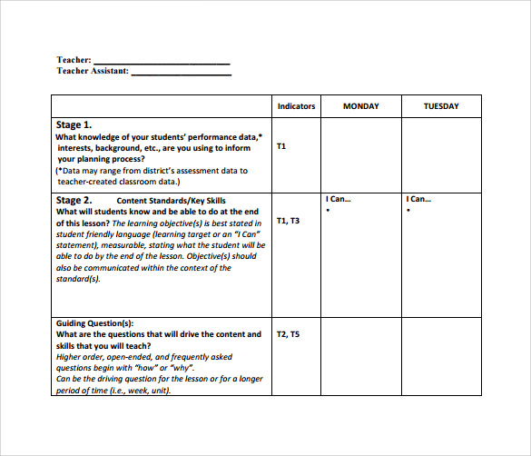 teacher lesson plan template download