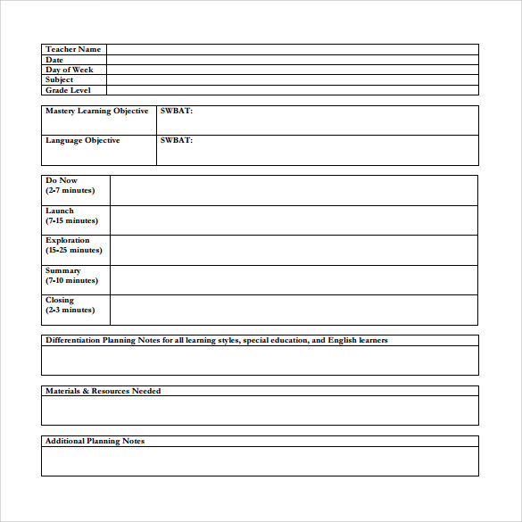 simple teacher lesson plan template