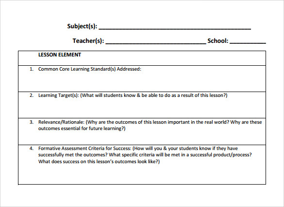 Teacher Lesson Plan Templates  Free Sample Example Format