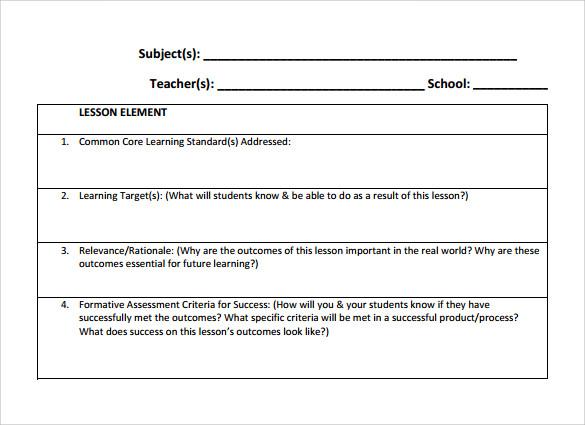 sample teacher lesson plan template