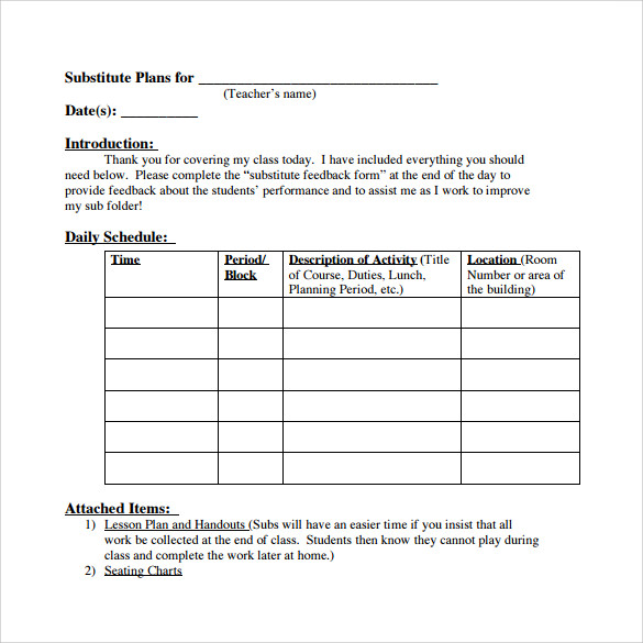 Daily Teacher Lesson Plan Template