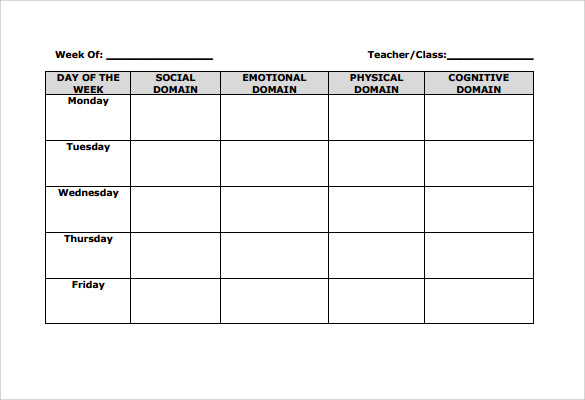 Blank Lesson Plan Template   Download Free Samples Examples