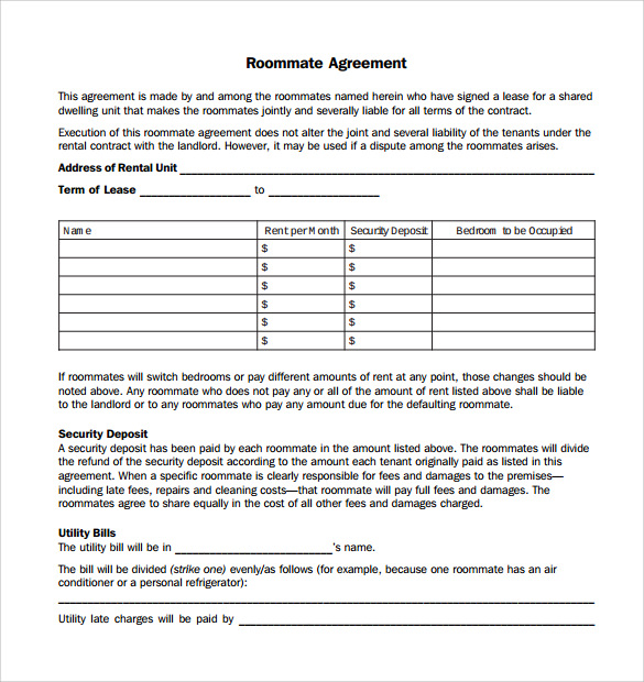 Sample Roommate Agreement Template - 13 + Free Documents in PDF , Word