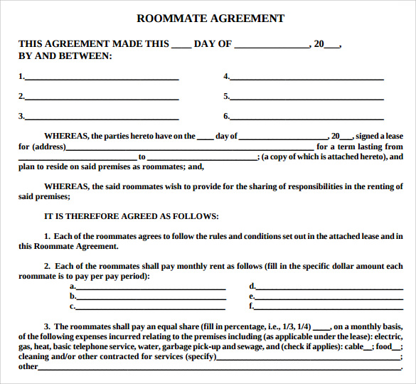 Roommate Lease Agreement Template  Joseph