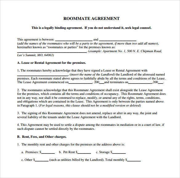 Sample Roommate Agreement Template    Free Documents In Pdf  Word