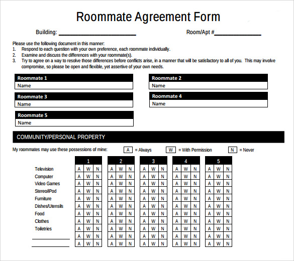 sample roommate agreement form