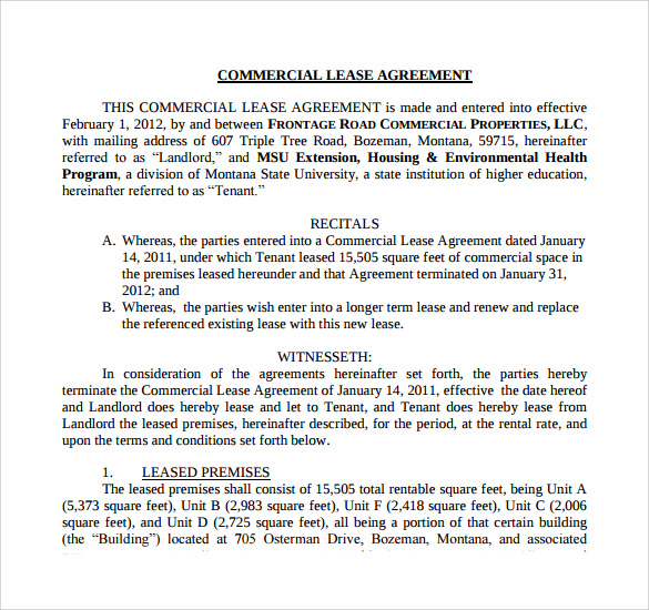 Commercial Net Lease Agreement