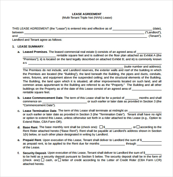 Sample Net Lease Agreement   Documents In Word Pdf