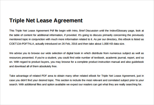 8 Sample Net Lease Agreement Templates Sample Templates