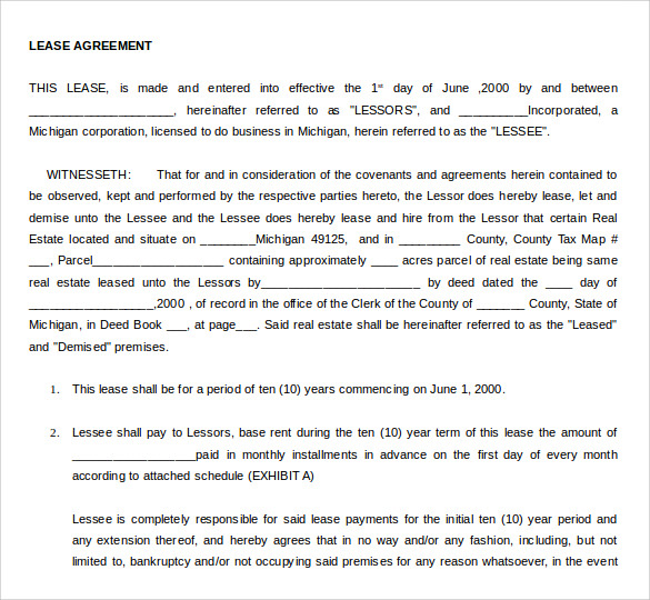 Sample Net Lease Agreement 7 Documents in Word PDF – Net Lease Agreement Template