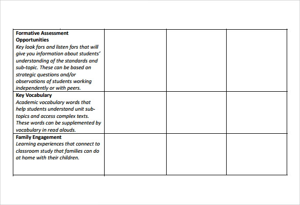 unit lesson template sample