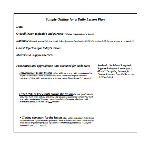 sample outline for a daily lesson plan