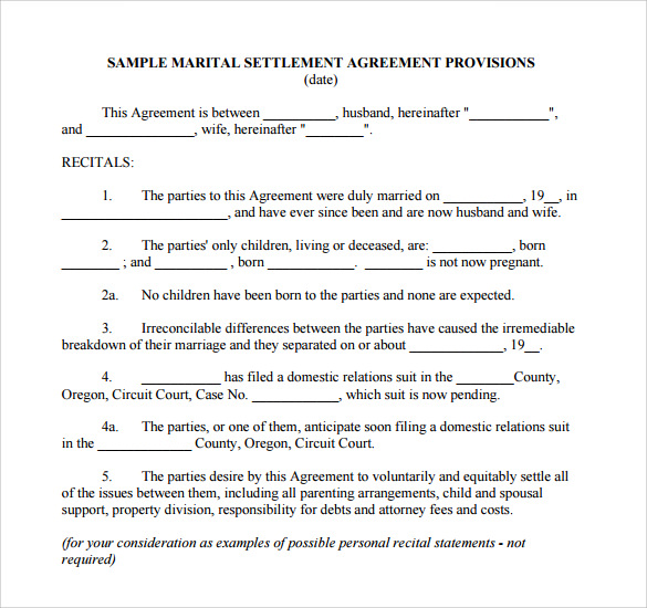 Marital Separation Agreement Template 28 Images