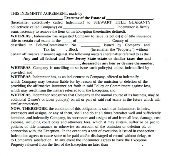 13+ Sample Indemnity Agreement Templates | Sample Templates