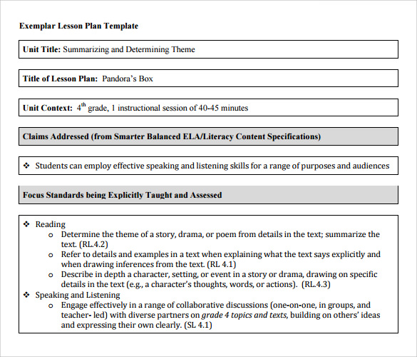Sample Unit Lesson Plan - 9+ Example, Format