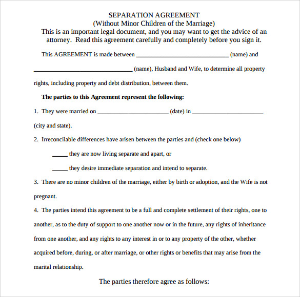 separation agreement template download