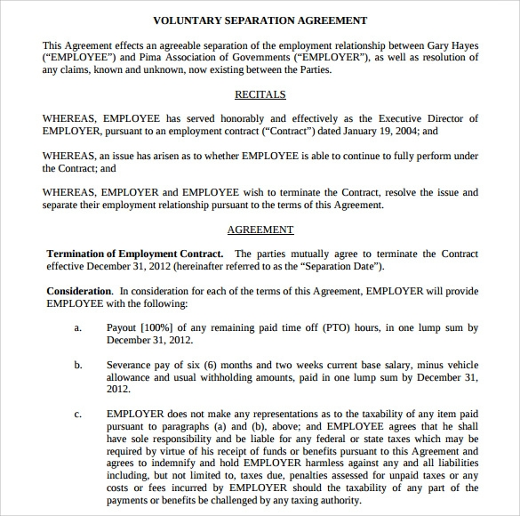 voluntary separation agreement template