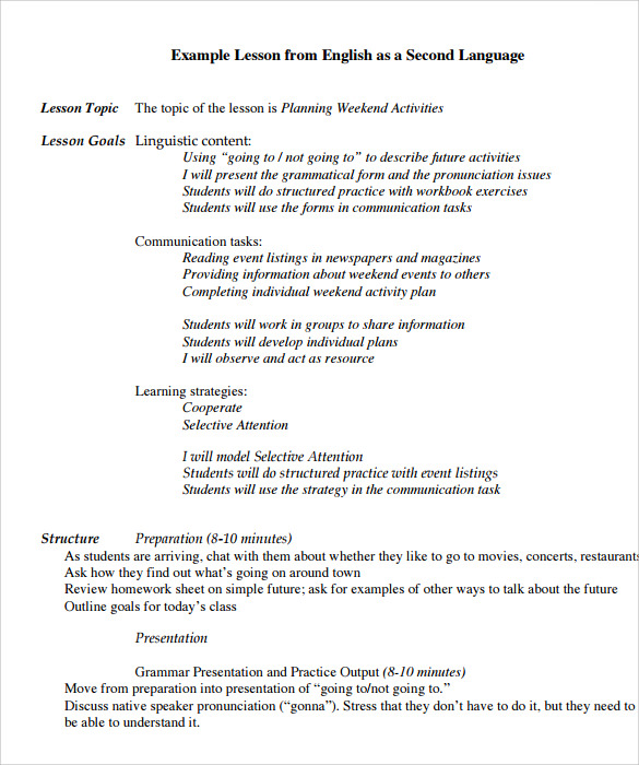 Sample Lesson Plan -6+ Documents In Pdf, Word