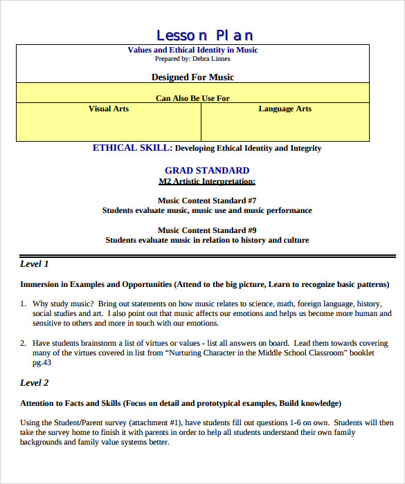 Sample Music Lesson Plans Sample Templates - Music lesson plan template