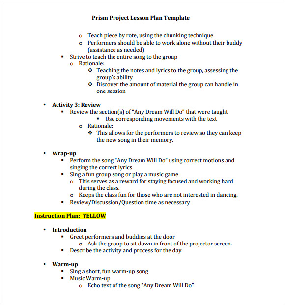 Sample music lesson plan template 7 download documents for Music business plan template free download