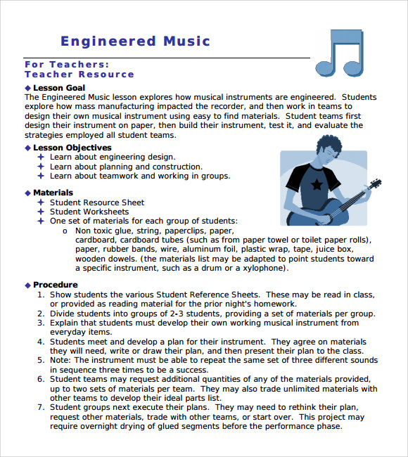 Sample Music Lesson Plan   Documents In Pdf Psd