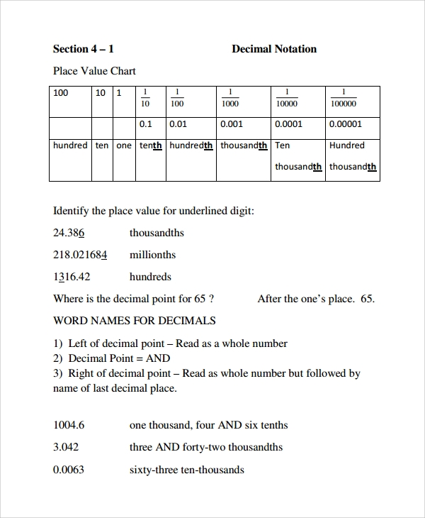 Number Names Worksheets decimal place value worksheet Free – Decimal Place Value Worksheet