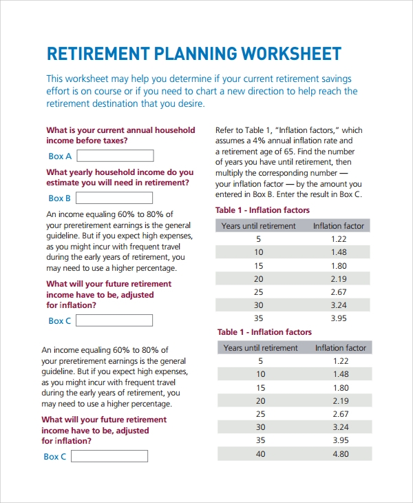 inflation calculator for retirement planning