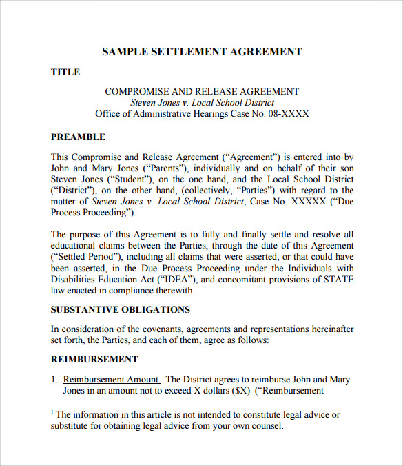 settlement agreement form example