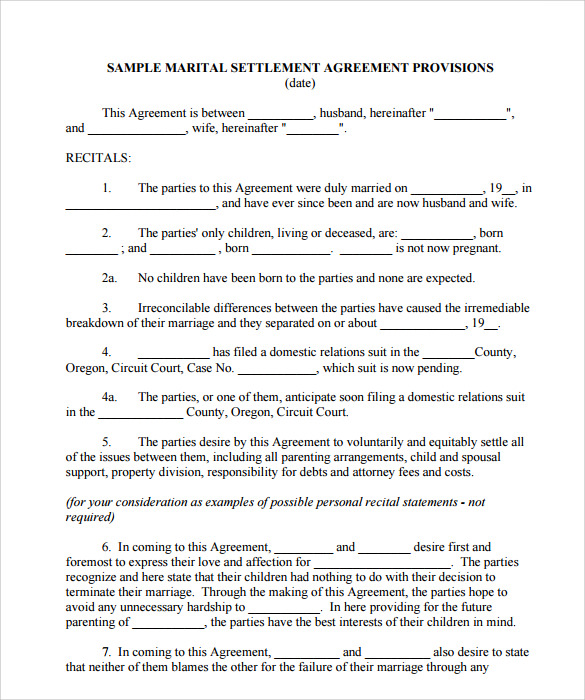 divorce settlement agreement template free