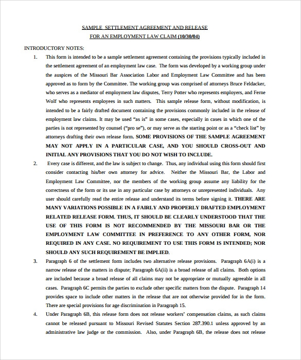 settlement agreement sample pdf