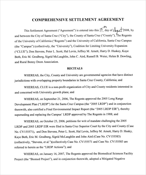 example of settlement agreement form