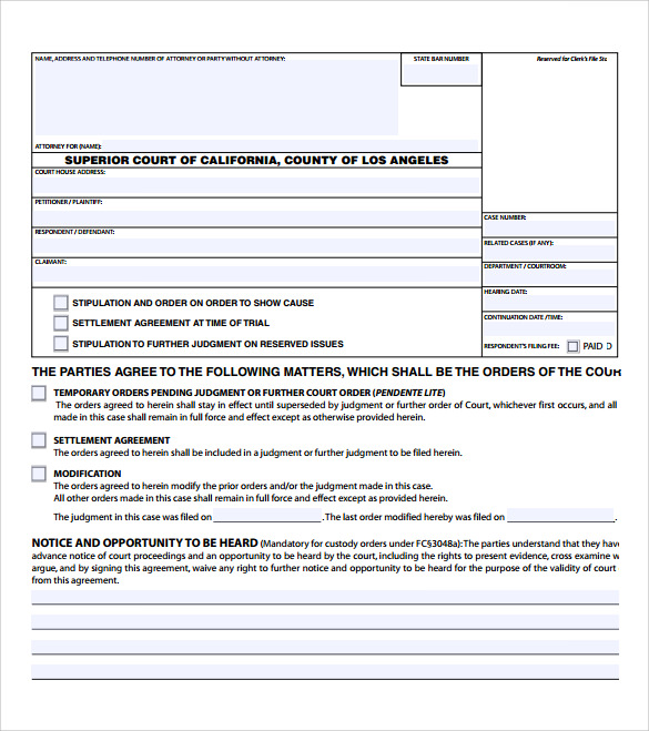 blank settlement agreement form