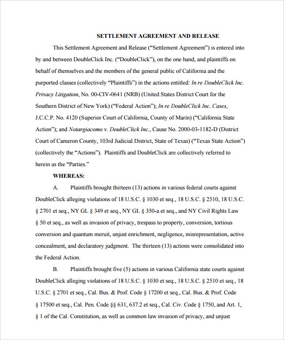 settlement agreement form example pdf1