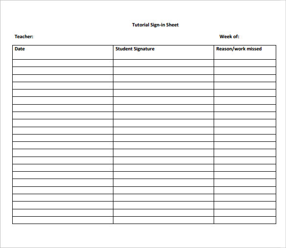 Sample School Sign In Sheet 11 Documents In Pdf .