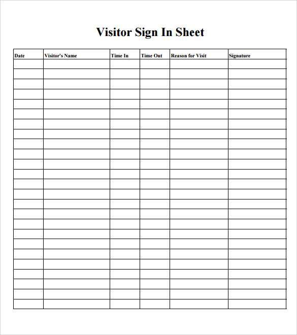 Sample School Sign In Sheet - 11+ Documents In Pdf