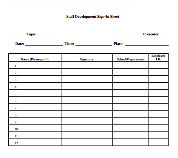 Sample school sign in sheet 11 download documents in pdf for Back to school sign in sheet template