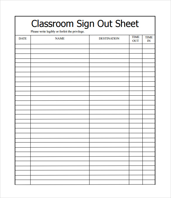 12 sample school sign in sheets sample templates for Back to school sign in sheet template