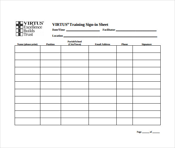 Sample School Sign In Sheet   Documents In Pdf