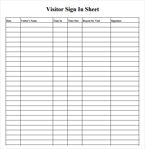 7 sample medical sign in sheets sample templates for Visitors book template free download