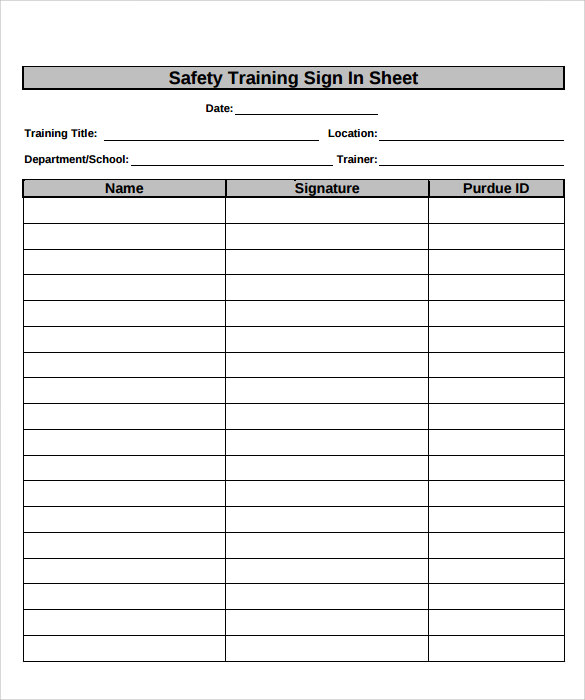 Sample Training Sign in Sheet 13 Documents in PDF – Free Sign in Sheet