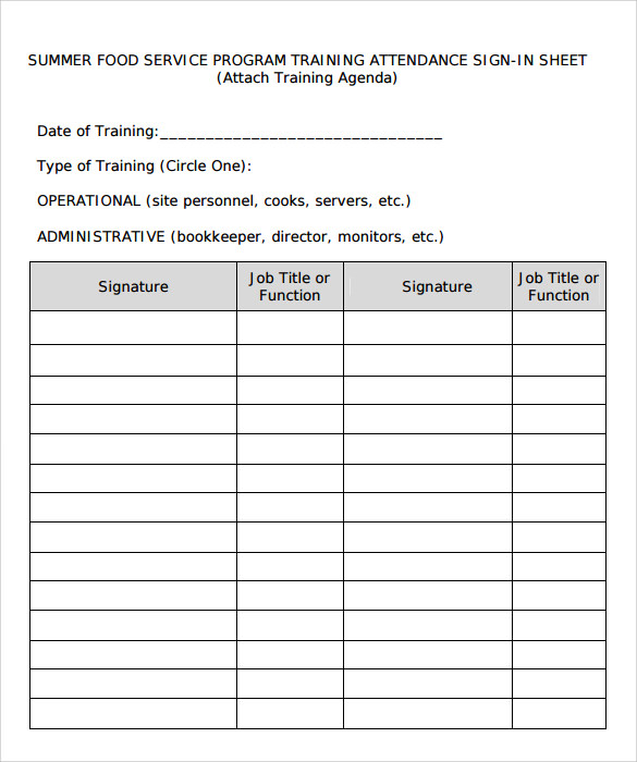 Sample Training Sign in Sheet Template - 13+ Download Documents in PDF