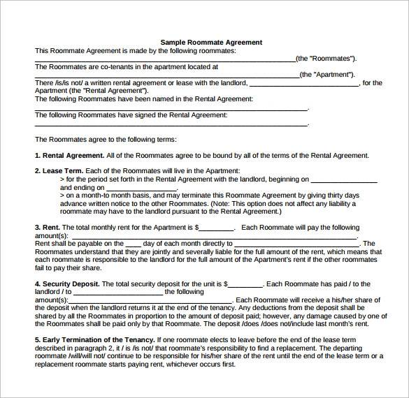 Sample Roommate Rental Agreement   Free Documents In Pdf  Word