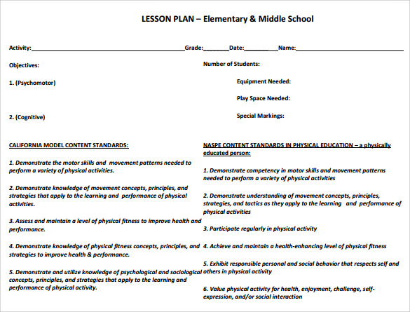 simple physical education lesson plan template