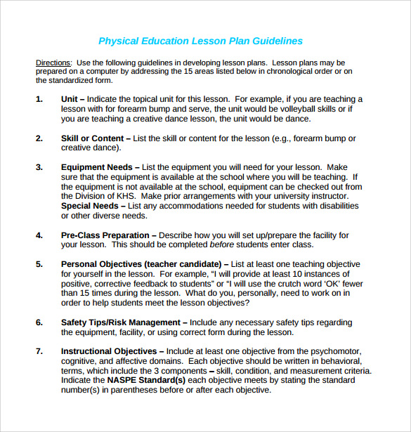 physical education lesson plan template guidelines