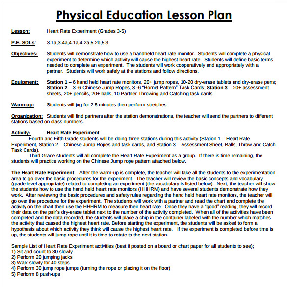 Sample Physical Education Lesson Plan   Examples  Format