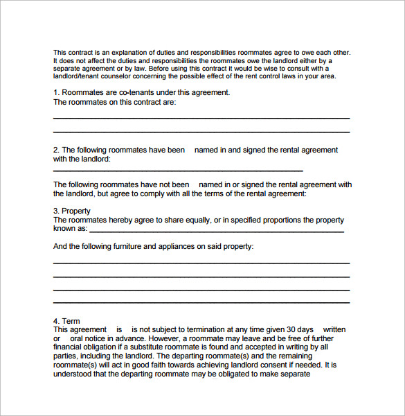 Sample Roommate Rental Agreement 14 Free Documents in PDF Word – Roommate Lease Agreement