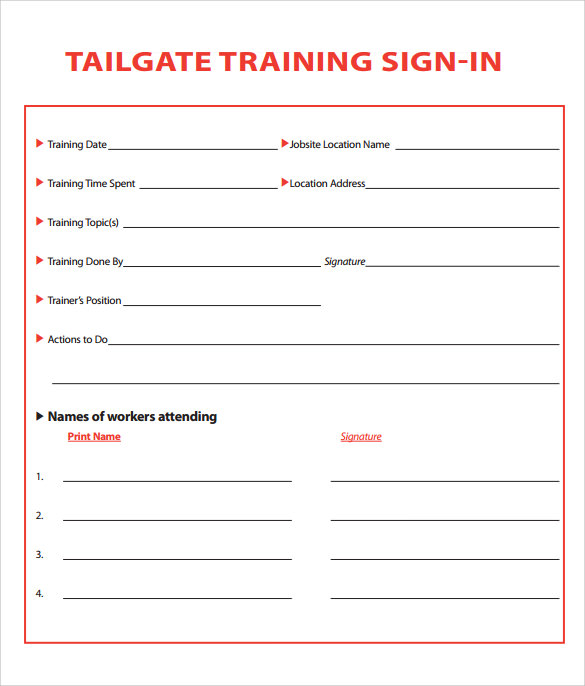 sample free training sign in sheet