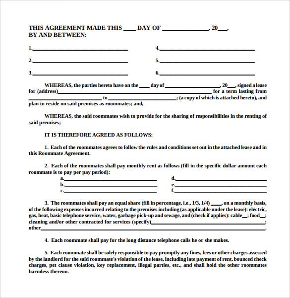 roommate agreement pdf