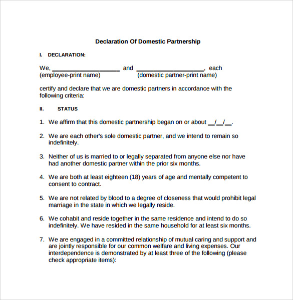 Sample Domestic Partnership Agreement - 11+ Free Documents in PDF ...